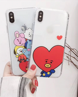 BTS BT21 KPOP Bangtan Shooky, Mang, Koya, Van, Tata, Chimmy, RJ, Cooky Summer hot Korean cute bulletproof youth group protection cover for iphone MAX XS XR 6 7 8plus air pressure soft TPU shell Capa